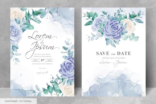 Szablon karty zaproszenie na ślub z kwiatowym i alkoholowym tłem