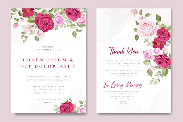 Szablon karty zaproszenie na ślub z piękne różowe róże