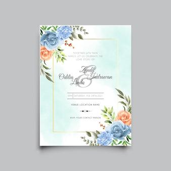 Szablon karty zaproszenie na ślub z pięknym wzorem królewskiej niebieskiej róży