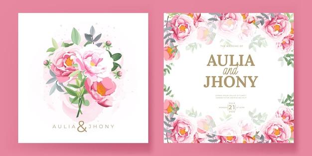 Szablon karty zaproszenie na ślub z ręcznie rysowane piwonie
