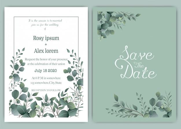 Szablon karty zaproszenie na ślub zieleni, eukaliptus