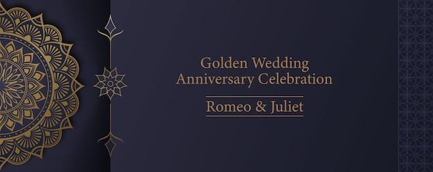 Szablon karty zaproszenie na uroczystość rocznicy złoty mandali
