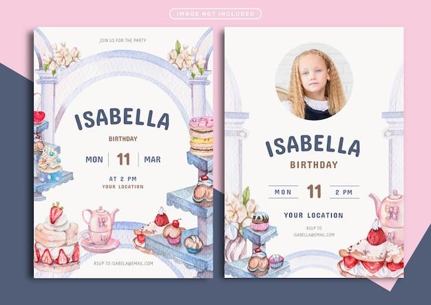 Szablon karty zaproszenie na urodziny słodycze i piekarnia