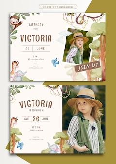 Szablon karty zaproszenie na urodziny z motywem dżungli