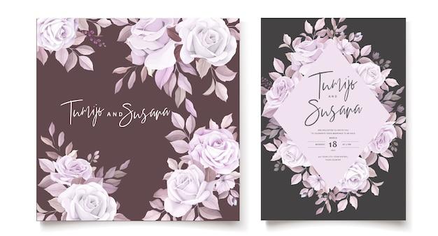 Szablon karty zaproszenie piękne róże