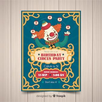 Szablon karty zaproszenie rocznika cyrk party