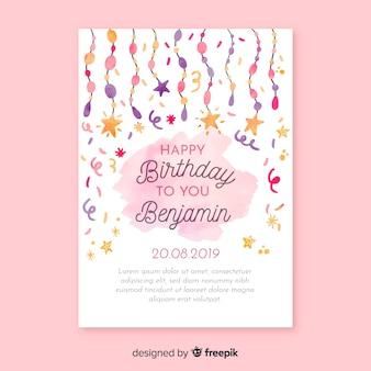 Szablon karty zaproszenie urodziny akwarela