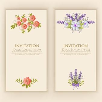 Szablon karty zaproszenie z elegancką dekoracją kwiatową