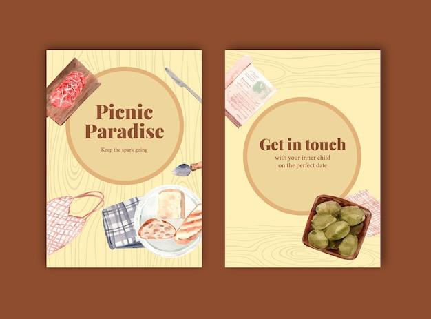 Szablon karty zaproszenie z europejskim projektem piknikowym na imprezę i spotkanie akwarela ilustracja.