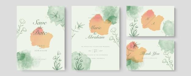 Szablon karty zaproszenie zielony pomarańczowy ślub akwarela zestaw ze złotą dekoracją kwiatową. abstrakcyjne tło zapisz datę, zaproszenie, kartkę z życzeniami, wektor wielofunkcyjny