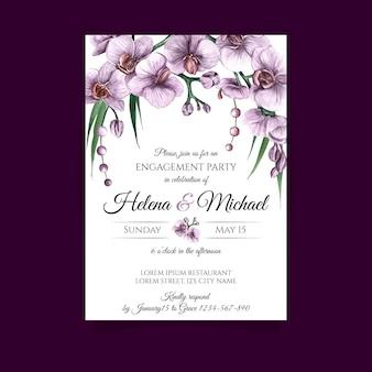 Szablon karty zaręczynowej z kwiatowymi elementami
