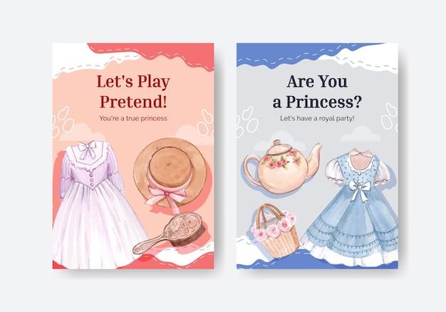 Szablon karty ze strojem księżniczki, styl akwareli