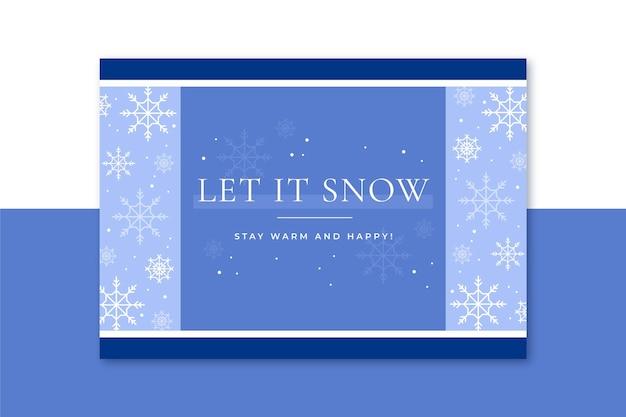 Szablon karty zima z płatki śniegu
