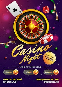 Szablon kasyna noc lub projekt ulotki