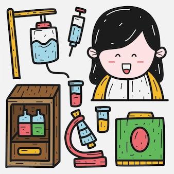 Szablon Kawaii Pielęgniarka Doodle Premium Wektorów