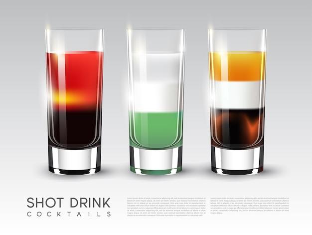 Szablon kieliszków do napojów alkoholowych z różnymi proporcjami składników w realistycznym stylu na białym tle