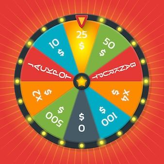 Szablon koła szczęścia. kolorowe szczęśliwe koło z kwotą pieniędzy.