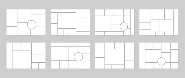 Szablon kolażu zdjęć. siatka tablicy nastroju. zestaw pustego moodboardu z kółkami. baner mozaikowy