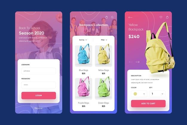 Szablon kolekcji aplikacji na zakupy mody
