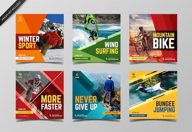 Szablon kolekcji banerów sportowych mediów społecznościowych