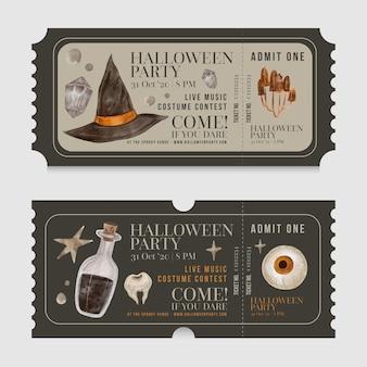 Szablon kolekcji biletów halloween