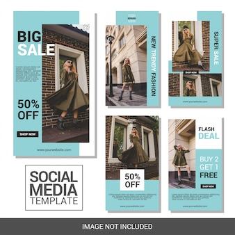Szablon kolekcji fashion social media instagram stories