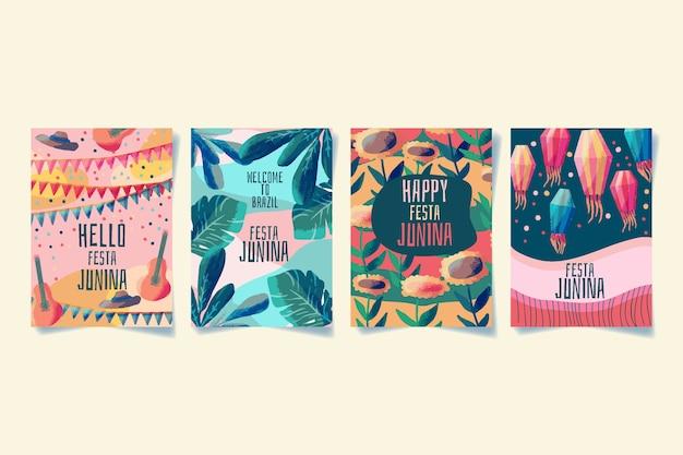 Szablon kolekcji kart akwarela festa junina
