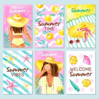 Szablon kolekcji kart akwarela lato