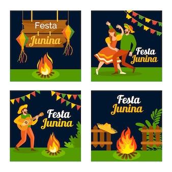 Szablon kolekcji kart festa junina w płaska konstrukcja