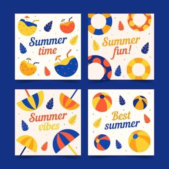 Szablon kolekcji karty lato w płaskiej konstrukcji