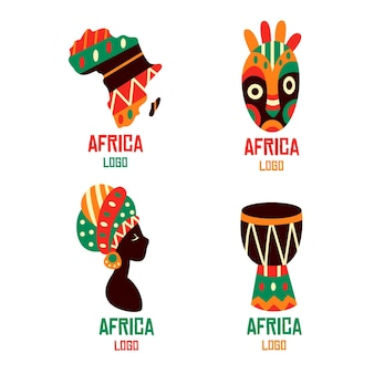 Szablon kolekcji logo afryki