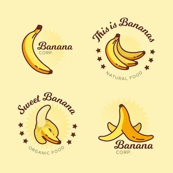 Szablon kolekcji logo bananów