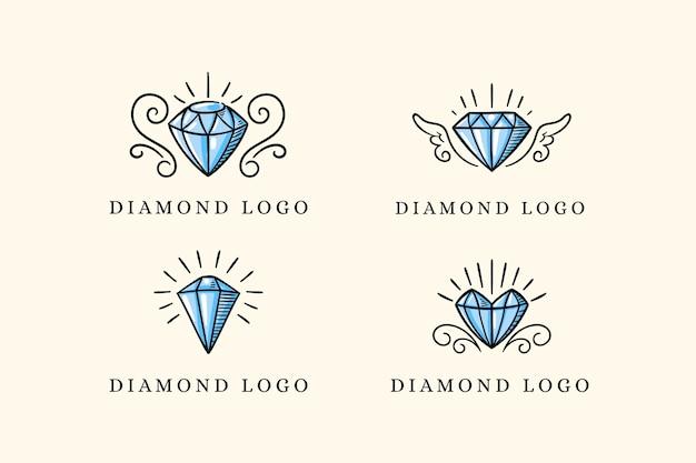 Szablon kolekcji logo diamentu