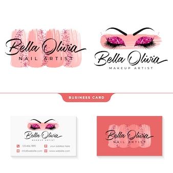 Szablon kolekcji logo kobiecego piękna makijaż