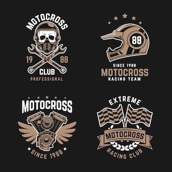 Szablon kolekcji logo motocross