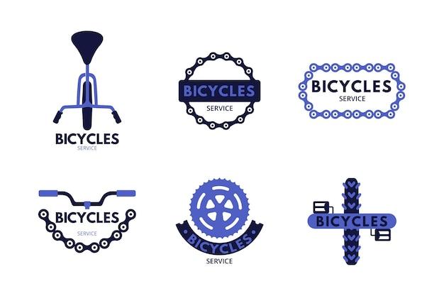 Szablon kolekcji logo rower płaski