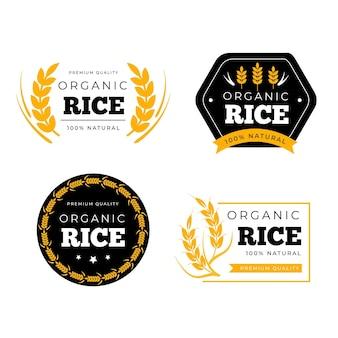 Szablon kolekcji logo ryżu