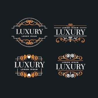 Szablon kolekcji luksusowe logo retro