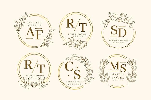 Szablon kolekcji monogram elegancki ślub