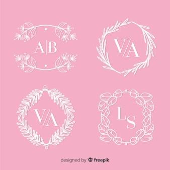 Szablon kolekcji monogram ślubu