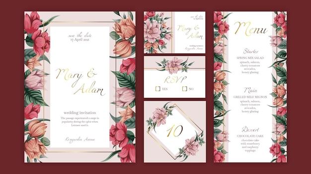 Szablon kolekcji papeterii ślubnej kwiatowy