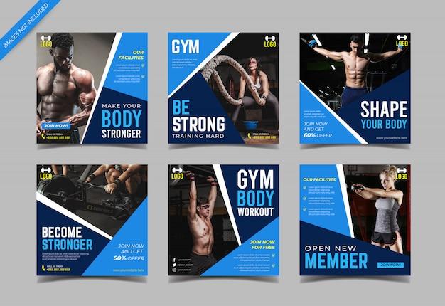 Szablon kolekcji post instagram siłowni
