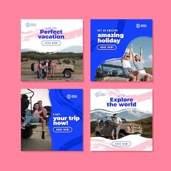 Szablon kolekcji postów na instagramie podróży