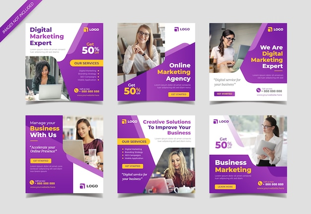 Szablon kolekcji postów w mediach społecznościowych agencji marketingu cyfrowego