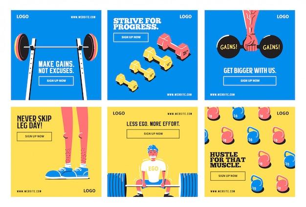 Szablon kolekcji postów w mediach społecznościowych fitness gym joga