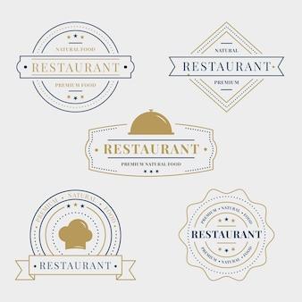 Szablon kolekcji retro logo restauracji