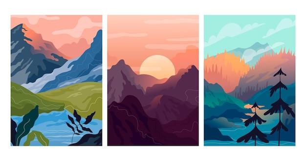 Szablon kolekcji różnych krajobrazów