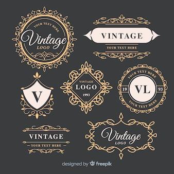 Szablon kolekcji vintage ozdobne logo