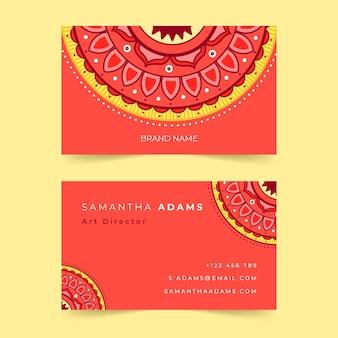 Szablon kolekcji wizytówek mandali