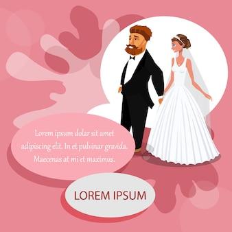 Szablon kolor zaproszenia ślubne z miejsca na tekst.